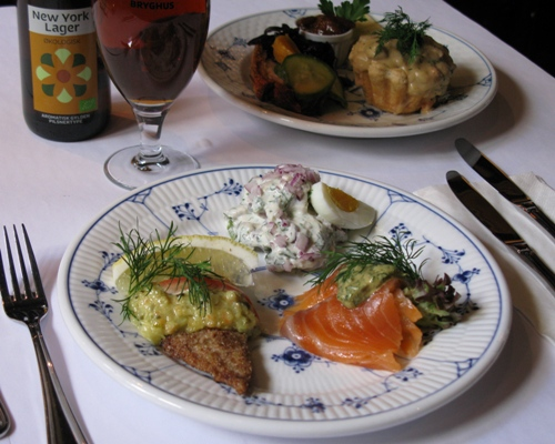 We celebrate Easter with a classic Danish lunch platter with herring, salmon, fillet of place, lamb, roast pork and cheese  preferably with a foaming draft beer from Nrrebro Bryghus and an aromatic Easter aquavit from Kronborg.
