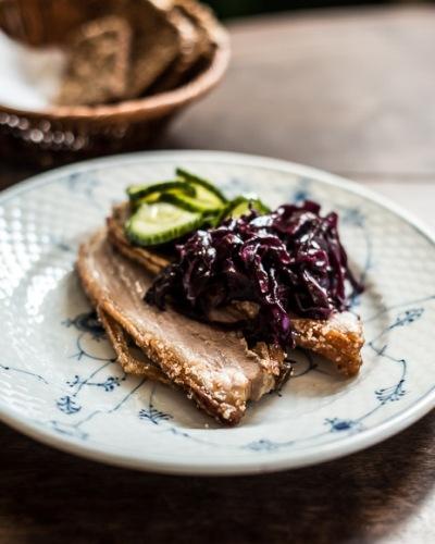 Roast pork crisp crackling best lunch restaurant kronborg Copenhagen