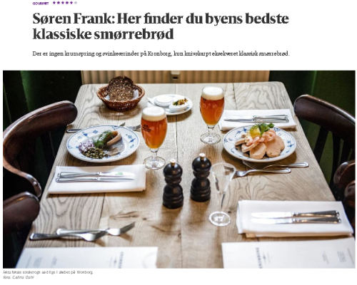 byens bedste smørrebrød restaurant kronborg anmeldelse berlingske søren frank